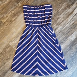 Gap Navy Blue and Coral Strapless Dress